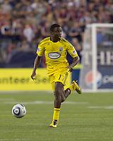 Columbus Crew midfielder Emmanuel Ekpo (17). The New England Revolution tied Columbus Crew, 2-2, at Gillette Stadium on September 25, 2010.