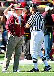 Florida State head coach Bobby Bowden challenges a possesion call after a punt hit a Univeristy of Florida player at the end of the first quarter of their NCAA football game at Bobby Bowden Field in Tallahassee, Florida November 25, 2006.  (Mark Wallheiser/TallahasseeStock.com)