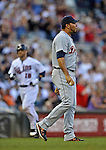 29 September 2012: Detroit Tigers pitcher Joaquin Benoit steps in front of the mound after serving up a grand slam to Ryan Doumit in the 8th inning of a game against the Minnesota Twins at Target Field in Minneapolis, MN. The Tigers defeated the Twins 6-4 in the second game of their 3-game series. Mandatory Credit: Ed Wolfstein Photo