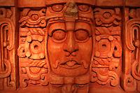 Face of Mayan ruler, replica of Temple of the masks at Kohunlich, Gran Museo del Mundo Maya museum in Merida, Yucatan, Mexico  .                 .