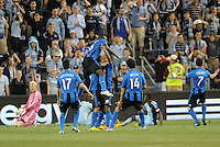 KANSAS CITY, KS - June 1, 2013:<br /> Impact players celebrate a goal.<br /> Montreal Impact defeated Sporting Kansas City 2-1 at Sporting Park.
