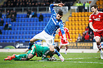 St Johnstone v Aberdeen...06.02.16   SPFL   McDiarmid Park, Perth<br /> Scott Brown saves at the feet of Graham Cummins<br /> Picture by Graeme Hart.<br /> Copyright Perthshire Picture Agency<br /> Tel: 01738 623350  Mobile: 07990 594431