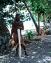 Robert, an elder member of the shark calling community of Kontu..Kontu, New Ireland Province, Papua New Guinea;