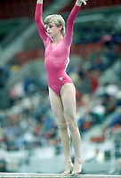 Hana Ricna of Czechlosovakia performs on balance beam at 1985 World Championships in women's artistic gymnastics at Montreal, Canada in mid November, 1985.  Photo by Tom Theobald.