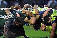 A general view of a scrum. Aviva Premiership match, between Leicester Tigers and Sale Sharks on February 6, 2016 at Welford Road in Leicester, England. Photo by: Patrick Khachfe / JMP