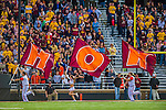 2 November 2013: Virginia Tech Hokies flag bearers celebrate a touchdown against the Boston College Eagles in the fourth quarter at Alumni Stadium in Chestnut Hill, MA. The Eagles defeated the Hokies 34-27. Mandatory Credit: Ed Wolfstein-USA TODAY Sports *** RAW (NEF) Image File Available ***