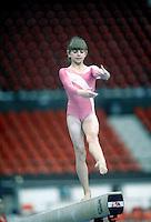 Oksana Omeliantchik of Soviet Union performs on balance beam at 1985 World Championships Montreal, Canada.  Photo by Tom Theobald.