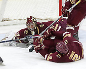 Joe Woll (BC - 31), Scott Savage (BC - 2) - The Harvard University Crimson defeated the visiting Boston College Eagles 5-2 on Friday, November 18, 2016, at Bright-Landry Hockey Center in Boston, Massachusetts.{headline] - The Harvard University Crimson defeated the visiting Boston College Eagles 5-2 on Friday, November 18, 2016, at Bright-Landry Hockey Center in Boston, Massachusetts.