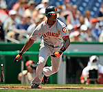 8 June 2008: San Francisco Giants' left fielder Fred Lewis leads off with a single against the Washington Nationals at Nationals Park in Washington, DC. The Giants rallied to defeat the Nationals 6-3 in their third consecutive win of the 4-game series...Mandatory Photo Credit: Ed Wolfstein Photo