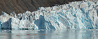 Kayakers paddle in Barry Arm, near the face of Cascade glacier, Prince William Sound, southcentral, Alaska.