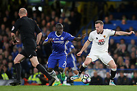 Tom Cleverley of Watford shields the ball from Chelsea's N'Golo Kante during Chelsea vs Watford, Premier League Football at Stamford Bridge on 15th May 2017