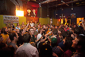 Megafaun gives an acoustic finale at King's Barcade on the final night of the Hopscotch Music Festival in Raleigh, N.C., Sat., Sept. 11, 2010.