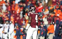 Nov 27, 2010; Charlottesville, VA, USA;  Virginia Tech Hokies running back David Wilson (4) during the game at Lane Stadium. Virginia Tech won 37-7. Mandatory Credit: Andrew Shurtleff-