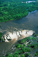 Brazil, aerial view of Santo Antonio waterfall in rainforest on Jari River coming down from Guyana Highlands, separating Para and Amapa States