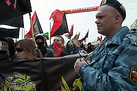 Moscow, Russia, 01/05/2010..Anarchists and anti-fascists confront police in central Moscow. A variety of political groups took to the streets on the traditional Russian Mayday holiday.