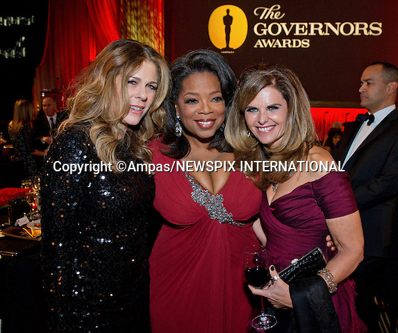 "OPRAH WINFREY, MARIA SHRIVER AND RITA WILSON.attend the 2011 Governors Awards in the Grand Ballroom at Hollywood & Highland in Hollywood, Los Angeles_12/11/2011.Oprah was the recipient of the Jean Hersholt Humanitarian Award..Mandatory Photo Credit: ©Wawrychuk/Newspix International..**ALL FEES PAYABLE TO: ""NEWSPIX INTERNATIONAL""**..PHOTO CREDIT MANDATORY!!: NEWSPIX INTERNATIONAL(Failure to credit will incur a surcharge of 100% of reproduction fees)..IMMEDIATE CONFIRMATION OF USAGE REQUIRED:.Newspix International, 31 Chinnery Hill, Bishop's Stortford, ENGLAND CM23 3PS.Tel:+441279 324672  ; Fax: +441279656877.Mobile:  0777568 1153.e-mail: info@newspixinternational.co.uk"