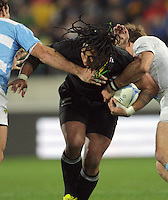 Ma'a Nonu takes the ball into contact during the Rugby Championship international rugby test match between the All Blacks and Argentina at Westpac Stadium, New Zealand on Saturday, 8 September 2012. Photo: Dave Lintott / lintottphoto.co.nz