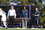 21 October 2012: Penn State head coach Bob Warming (left) with assistant coaches Bo Oshoniyi (center) and Chad Duernberger (right). The Northwestern University Wildcats played the Penn State University Nittany Lions at Lakeside Field in Evanston, Illinois in a 2012 NCAA Division I Men's Soccer game. Penn State won the game 1-0 in golden goal overtime.
