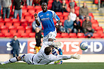 St Johnstone v Kilmarnock....20.10.12      SPL.Gregory Tade is denied by Cammy Bell.Picture by Graeme Hart..Copyright Perthshire Picture Agency.Tel: 01738 623350  Mobile: 07990 594431