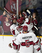 Alexander Kerfoot (Harvard - 14), Ryan Donato (Harvard - 16), Clay Anderson (Harvard - 5), Viktor Dombrovskiy (Harvard - 27) - The Harvard University Crimson defeated the Air Force Academy Falcons 3-2 in the NCAA East Regional final on Saturday, March 25, 2017, at the Dunkin' Donuts Center in Providence, Rhode Island.