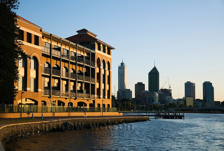 Old Swan Brewery Restaurant on the Swan River at dawn.  Perth, Western Australia, AUSTRALIA.