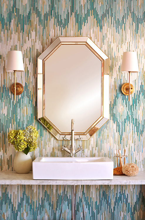 Loom, a handmade mosaic shown in Quartz, Aquamarine, Tanzanite and Turquoise jewel glass, is part of the Ikat collection by Sara Baldwin for New Ravenna.<br />