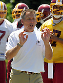 Ashburn, VA - June 11, 2008 -- Washington Redskins Head Coach Jim Zorn instructs his players during an organized team activity (OTA) as part of their preparations for the 2008 National Football League season at their training facility, Redskins Park in Ashburn, Virginia on Wednesday, June 11, 2008..Credit: Ron Sachs / CNP
