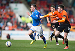 St Johnstone v Dundee United...19.04.14    SPFL<br /> Michael O'Halloran is pulled back by John Souttar<br /> Picture by Graeme Hart.<br /> Copyright Perthshire Picture Agency<br /> Tel: 01738 623350  Mobile: 07990 594431