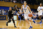 07 January 2016: Duke's Angela Salvadores (ESP) (3) and Wake Forest's Amber Campbell (2). The Duke University Blue Devils hosted the Wake Forest University Demon Deacons at Cameron Indoor Stadium in Durham, North Carolina in a 2015-16 NCAA Division I Women's Basketball game. Duke won the game 95-68.