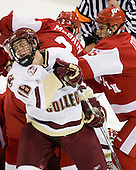Kyle Kucharski (Boston College - 18), Sean Dolan (Wisconsin - 16) - The Boston College Eagles defeated the University of Wisconsin Badgers 5-4 on Friday, October 10, 2008 after raising their 2008 National Championship banner at Kelley Rink in Conte Forum in Chestnut Hill, Massachusetts.