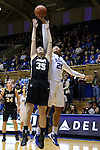 22 November 2015: Duke's Kendall Cooper (21) grabs a rebound over Army's Dani Failor (35). The Duke University Blue Devils hosted the United States Military Academy at West Point Army Black Knights at Cameron Indoor Stadium in Durham, North Carolina in a 2015-16 NCAA Women's Basketball Exhibition game. Duke won the game 72-61.