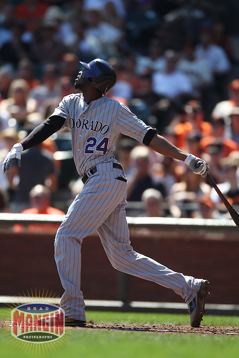 SAN FRANCISCO - SEPTEMBER 28:  Dexter Fowler #24 of the Colorado Rockies bats against the San Francisco Giants during the game at AT&T Park on September 28, 2011 in San Francisco, California. Photo by Brad Mangin