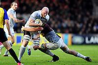 Tom Ellis of Bath Rugby takes on the Harlequins defence. Aviva Premiership match, between Harlequins and Bath Rugby on November 27, 2016 at the Twickenham Stoop in London, England. Photo by: Patrick Khachfe / Onside Images