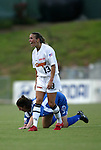 9 August 2003: Heather Mitts (13) is called for a foul on Birgit Prinz (rear). The Carolina Courage tied the Philadelphia Charge 1-1 at SAS Stadium in Cary, NC in the final regular season WUSA game.