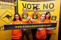 NO REPRO FEE. VOTE NO TO THE 30TH AMENDMENT. Pictured at the Official launch of the 'NO' Campaign at the The Westbury Hotel, Dubliin are L-R volunteers Dilyama Ryan, Dermot Ryan, Heather Landy, David Hughes and Samantha Lyndon. Picture James Horan/Collins.