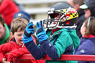 College Park, MD - NOV 26, 2016: A young Terps fan is excited after a Maryland Terrapins touchdown during game between Maryland and Rutgers at Capital One Field at Maryland Stadium in College Park, MD. Maryland defeated Rutgers 31-13. (Photo by Phil Peters/Media Images International)