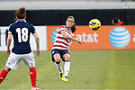 09 February 2012: Kelley O'Hara (USA) (5) and Emma Mitchell (SCO) (18). The United States Women's National Team played the Scotland Women's National Team at EverBank Field in Jacksonville, Florida in a women's international friendly soccer match. The U.S. won the game 4-1.