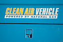 A close up of Clean Air Vehicle sign on a utility truck by PG&E. Cupertino, California, USA