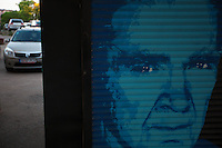 Romania. Iași County. Iași. Emil Cioran's face drawn on the shutters of a closed second-hand bookshop. Cars in a parking lot. Emil Michel Cioran (8 April 1911 – 20 June 1995) was a Romanian philosopher and essayist, who published works in both Romanian and French. Iași (also referred to as Iasi, Jassy or Iassy) is the largest city in eastern Romania and the seat of Iași County. Located in the Moldavia region, Iași has traditionally been one of the leading centres of Romanian social life. The city was the capital of the Principality of Moldavia from 1564 to 1859, then of the United Principalities from 1859 to 1862, and the capital of Romania from 1916 to 1918. 5.06.15© 2015 Didier Ruef