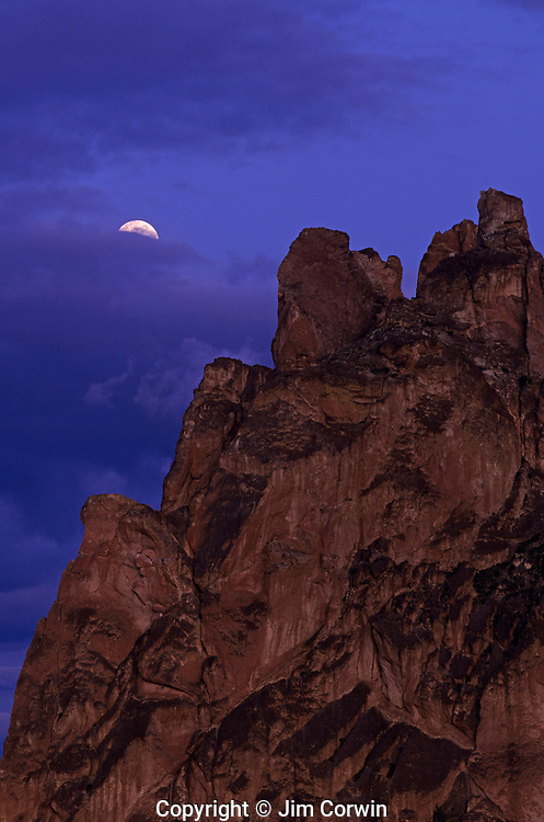 Smith Rock State Park moonrise sunset over rock formations Deschutes County Central Oregon State near Prineville Oregon USA