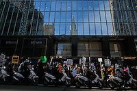 NEW YORK, USA - MARCH 4, NYPD officers keep an eye on protesters as they take part in a march to Trump Tower on March 4 , 2017 in New York.  VIEWpress/Eduardo MunozAlvarez