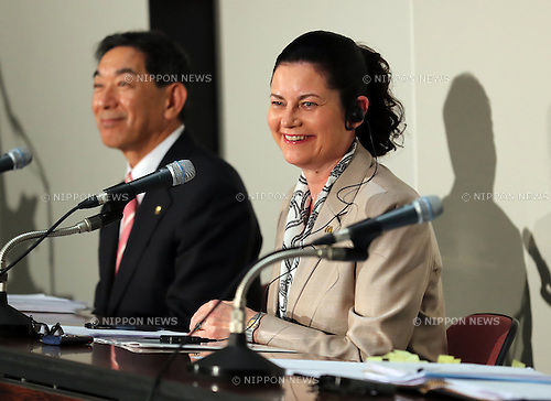 August 9, 2016, Tokyo, Japan - Japan's McDonald's Holdings president Sarah Casanova announces the company's first half financial result at the Tokyo Stock Exchange in Tokyo on Tuesday, August 9, 2016. McDonald's Japan said the company's net profit in the first half is 158 million while the fast-food restaurant chain posted record loss at the same period of the last year.    (Photo by Yoshio Tsunoda/AFLO) LWX -ytd-