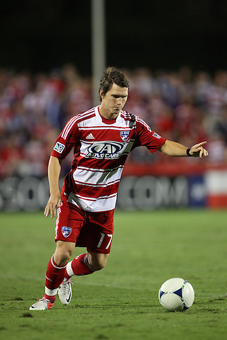 FRISCO, TX - SEPTEMBER 15: Zach Loyd #17 of FC Dallas in action against the Vancouver FC at FC Dallas Stadium on September 15, 2012 in Frisco, Texas. (Photo by Rick Yeatts)