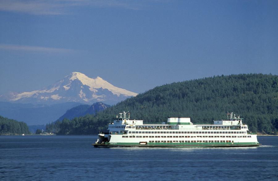 Ferry Kaleetan cruising San Juan Islands (Mt Baker in background), Washington