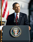 United States President Barack Obama makes remarks as he and first lady Michelle Obama welcome Prime Minister David Cameron of Great Britain (not pictured) and his wife, Samantha, to the White House in Washington, D.C. on Wednesday, March 14, 2012..Credit: Ron Sachs / CNP
