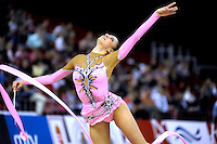Evgeniya Kanaeva of Russia expresses with ribbon at 2009 Budapest World Cup on March 7, 2009 at Budapest, Hungary.  Photo by Tom Theobald.