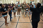 Jeffery Billingslea conducts the choir Annoited Ministries during the Multicultural Student Expo and Involvement Fair on August 28th in the Baker Ballroom. Photo by Olivia Wallace