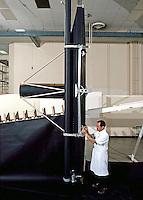 Solar generator folded up like a screen for transport in a shuttle, Lockheed, Sunnyvale, CA 1978. Photo by John G. Zimmerman.