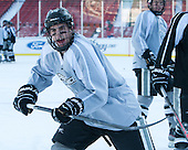 Steven McParland (PC - 15) -  - The participating teams in Hockey East's first doubleheader during Frozen Fenway practiced on January 3, 2014 at Fenway Park in Boston, Massachusetts.