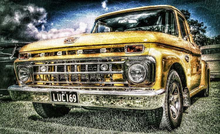 Vintage retro classic pickup truck in yellow